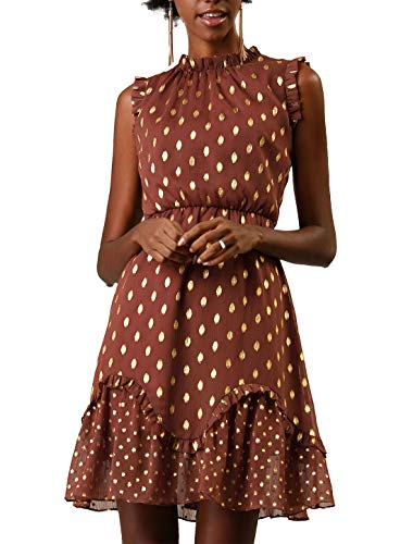 Allegra K Women's Metallic Dot Print Sleeveless Ruffle Cocktail Skater Dress Brown S