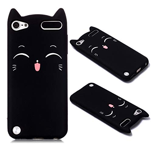 iPod Touch 5 Cat Case, iPod Touch 6 Animal Case, Cute 3D Cartoon Kitty Black Cat Soft Silicone Rubber Phone Cover Case for iPod Touch 5 Generation/iPod Touch 8 Generation
