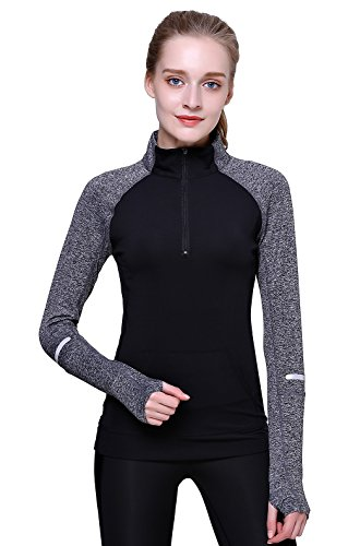 Out Kids Sweatshirt - Cityoung Women Yoga Long Sleeves Half Zip Sweatshirt Girl Athletic Workout Running Jacket (S, Black)