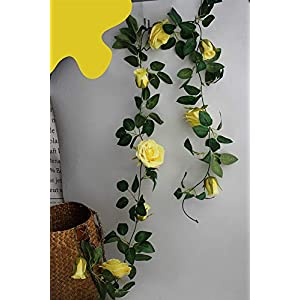 Liveinu 6.5 Ft Fake Rose Vine Garland Hanging Artificial Silk Flowers Plants for Hotel Wedding Home Party Garden Fence Craft Art Decor Backdrop Baby Shower Decor Yellow 113