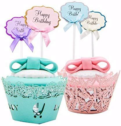 JeremyHar75 - Adornos para Cupcakes con Purpurina y Lazo ...