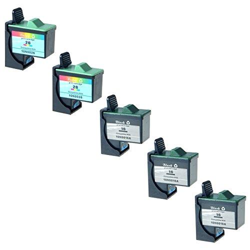 AMTONER Remanufactured for 5 Pack #16 10N0016 #26 10N0139 Black and Color Print Cartridges 10N0202 for use in Z13 Z23 Z25 Z33 Z35 Z515 Z605 Z611 Z615 Z645 Z75 X1150 X1185 3 Black,2 Tri-color