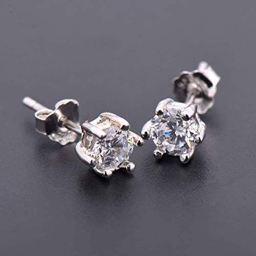 Sterling Prong - 5mm Sterling Silver Earrings Studs Diamond Imitation 6 Prongs Cubic Zirconia