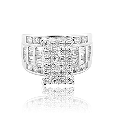 3 in 1 Style Bridal Wedding Ring 12mm Wide Round and Baguette CZ Sterling Silver (Pave Style Band)