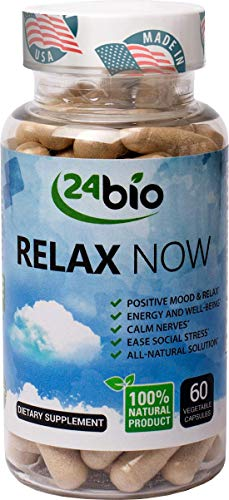 24bio Relax Now Natural Anxiety Relief Supplement, Best Anti Stress & Depression Support Remedy, Vitamin B & Valerian Root, Rhodiola Rosea, Gotu Kola, Magnesium, Keeps you Relaxed & Positive Mood