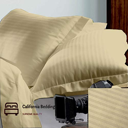 California Bedding True Luxury 800 TC 100% Pure Natural Egyptian Cotton King/Cal-King 20x40 Size 2-Piece Pillow Cover Sham Set Hotel Style Single Ply Soft Sateen Weave, Taupe Striped