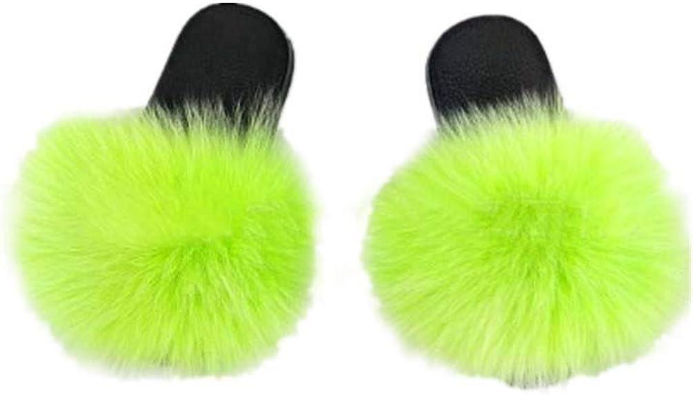 LVCOMEFF Girls Real Fox Fur Sandals Slides Fluffy Fuzzy for Kid Child