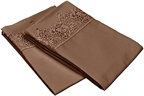 Pillowcase Standard Lace (Super Soft Light Weight, 100% Brushed Microfiber, Standard, Wrinkle Resistant, Taupe 2-Piece Pillowcase Set with Regal Lace Hem Detail)