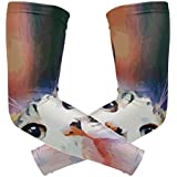 Macaron Rainbow Cat Kitty Arm Sleeve Youth Adult Compression Elbow UV Skin Protection Sun Protection Sleeve for Cycling Basketball Baseball Driving