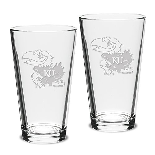 - NCAA Kansas Jayhawks Adult Set of 2 - 16 oz Pub Mixing Glasses Deep Etch Engraved, One Size, Clear
