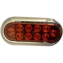 "AutoSmart KL-35102RK Red 6"" Oval LED Turn Signal/Tail Light Kit with Light and Chrome Bezel"