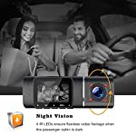 Dual Dash Cam, TOGUARD FHD 1080P Front and 720P Cabin Dual Lens Car Camera for Cars, 1.5 inch LCD Display, IR Night…