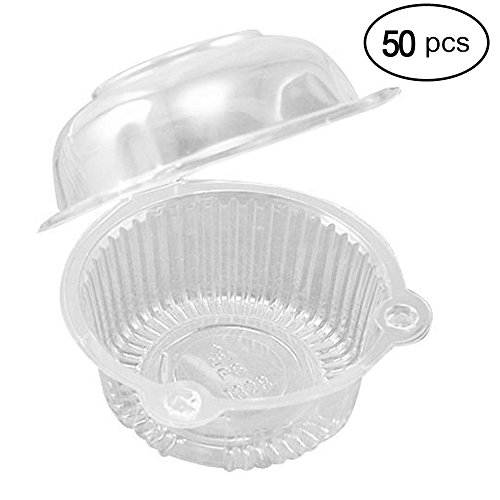 Plastic Single Individual Cupcake Containers, Clear Dome Box for Sandwich Hamburgers Fruit Salad Party Favor Cake Holder Muffin Case Cups Pod (Pack of 50) (Carrier Single Cupcake)