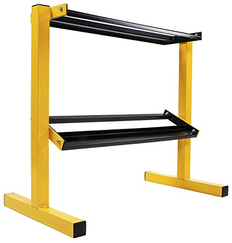 BalanceFrom 2-Tier Easy-Grab Dumbbell Rack Multilevel Weight Storage Organizer for Home Gym, 600-Pound Capacity, Yellow…