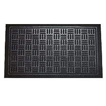 LuxUrux Durable Rubber Door Mat, Heavy Duty Doormat, Indoor Outdoor Rug, Easy Clean, Waterproof, Low-Profile Door Rugs for Entry, Patio, High Traffic Entrance Ways (23 x 35'', Black Maze)