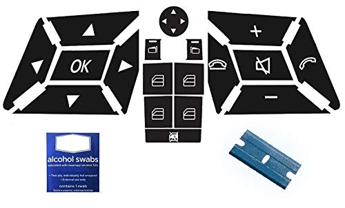 AcButtons Mercedes Benz Steering and Power Window Repair Kit | Vinyl Overlay Decals Compatible with Most E ML GL and W Class Benz Autos and SUV's Easy to Apply