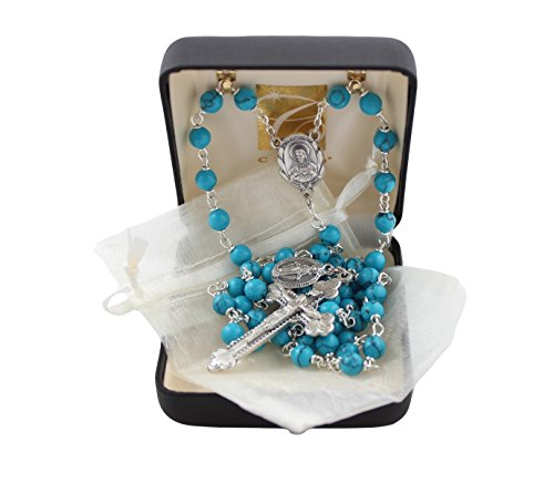 (Semi Precious Italian Rosary Rosary with 6mm Imitation Turquoise Beads and Ivory Organza Bag )