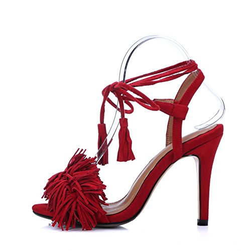 Ankle Red Wrap Fringed 1TO9 Womens Style Sandals Baguette Urethane MJS03089 zxHHnIB7