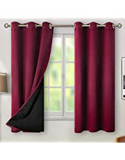 BGment Thermal Insulated 100% Blackout Curtains for Bedroom with Black Liner, Double Layer Full Room Darkening Noise Reducing Grommet Curtain, 2 Window Curtain Panels
