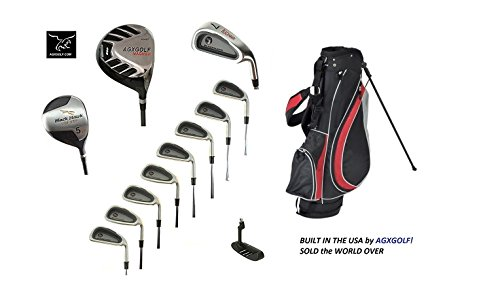 AGXGOLF Men's Blackhawk Edition Golf Club Set; Stand Bag Driver, Fairway Wood, 3-9 Irons + PW + Bonus SW: Right Hand, Choose Length: Built in the USA! Fast Shipping