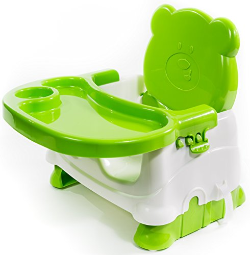 Booster Seat for Dining- Toddlers Portable High Chair Booster Seat -Best Booster Seats for Eating with 3-Point Harness Secures Baby Tightly While You Feed -Dishwasher Safe Tray, Built-in Cup Holder