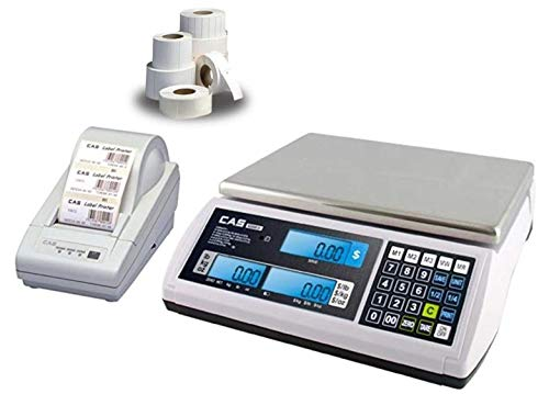 CAS S-2000 Jr Price computing Scale,NTEP, 15 lb X0.005 lb, DLP-50 Thermal Label Printer, 1 Case of Labels LST-8060