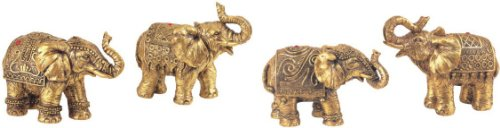 Set of 4 Thai Elephant Collectible Statue Figurine Decoration Decor by GSC