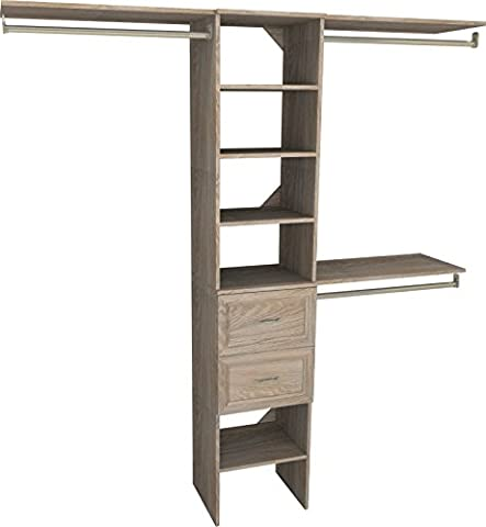 ClosetMaid 1952140 SuiteSymphony 16-Inch Closet Organizer with Shelves and 2-Drawers, Natural Gray