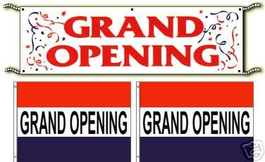 Grand Opening Banner & Flags Sign Package