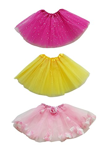 FANCYKIDS Girls Kids Princess Party Tutu Ballet Dance Play Tutus (3-Pack) (Combo #2)