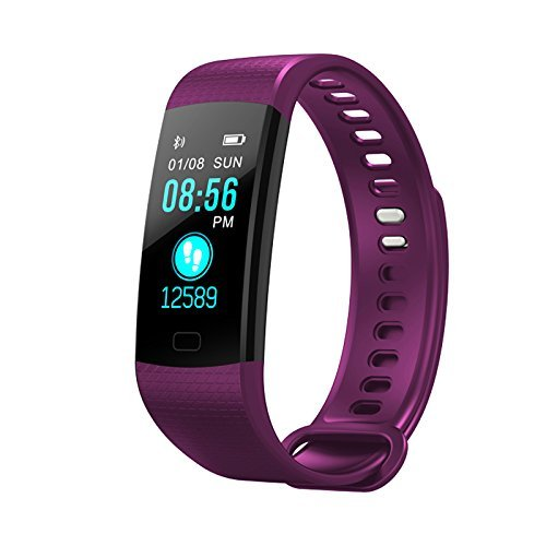 Price comparison product image Smart Wristband Waterproof, Color Screen Watch, Health Activity Fitness tracker Pedometer, Blood Pressure Heart Rate Monitor Bracelet -Purple