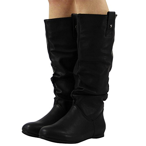 Womens Pixie MID Calf Rouched Flat Pull ON Knee Long Ladies Slouch Boots Size 6