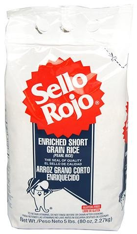 Arroz Sello Rojo - Enriched Short Grain Rice - 5 Lb Bag