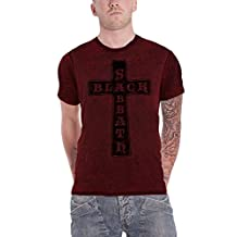Black Sabbath T Shirt Vintage Cross Band Logo Official Mens Red 2tone Burnout