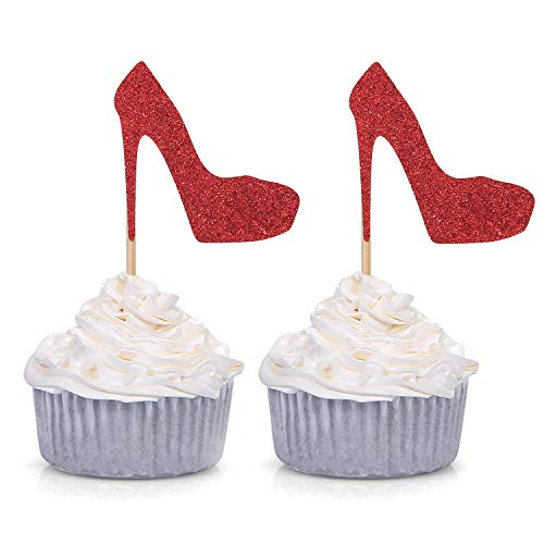 er High Heel Cupcake Toppers for Wedding Engagement Bridal Shower Party Stiletto Pump Decorations … ()