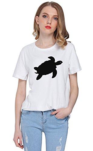 So'each Women's Cute Tortoise Graphic Printed Tee T-shirt Tops