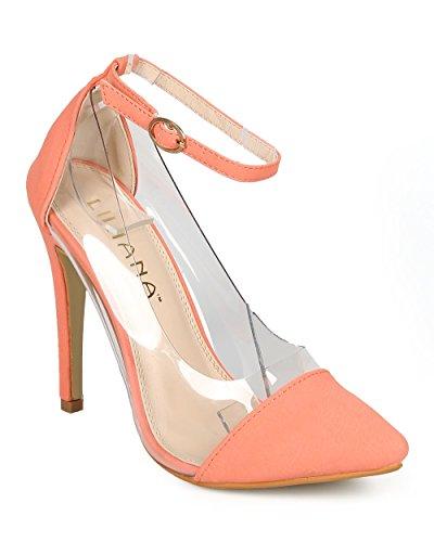 Liliana CF91 Women Nubuck Lucite Pointy Toe Ankle Strap Stiletto Pump - Coral OXR5iaaRLq