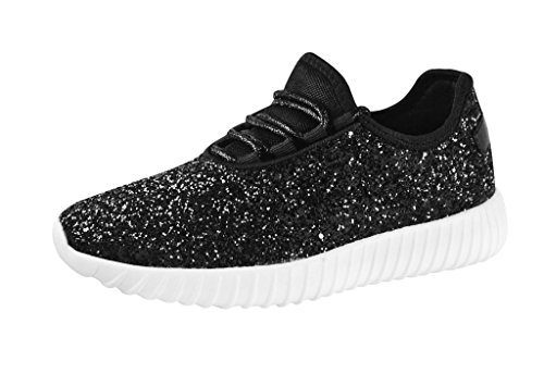 ROXY-ROSE Women's Glitter Tennis Sparkly Sneaker Red Silver White Black Stylish Shoes(6 B(M) US, Black) ()
