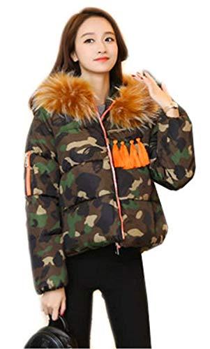 Giovane Qualità Stampate Giacca Yasminey Tasche Cerniera Coat Miscela Lunga Armee Con Manica Alta Outwear Baggy Camuffare Cappuccio Invernali Di Donna Cotone Coulisse gf6qgxwRC
