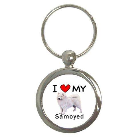 (I Love My Samoyed Round Key Chain)