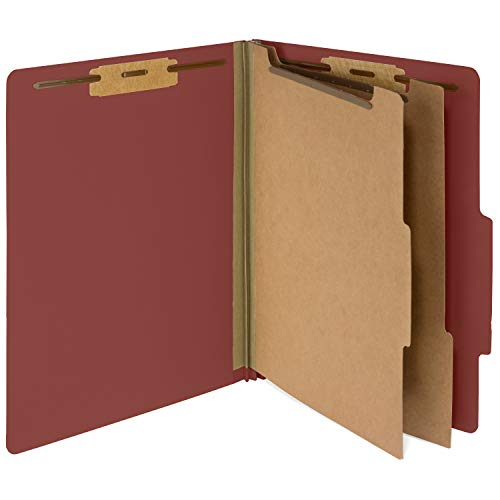Section Top Tab Classification Folders - 10 Red Classification Folders- 2 Divider-2'' Tyvek expansions- Durable 2 Prongs Designed to Organize Standard Medical Files, Law Client Files, Office Reports- Letter Size, Red, 10 Pack