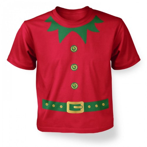 Christmas Elf Costume (green Detail)kids T-shirt - Red 7-8 - Dork Costume