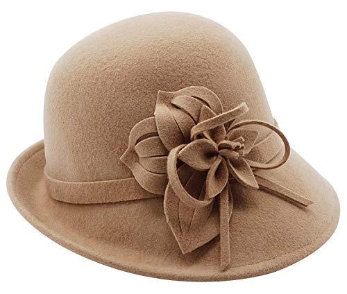Bellady Women's Elegant Flower Wool Cloche Bucket Bowler Hat,Camel