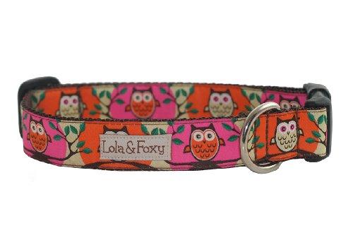 Lola & Foxy Pink Owl Dog Collar, X-Large