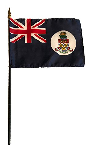 - Small 4 X 6 Inches Mini 4x6 inches Miniature Desk & Table Flag Banner with Polyester Stick - Asia & Africa GRP 1 (1-Pack, Country: Cayman Islands)