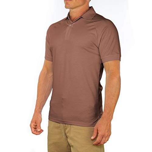 Comfortably Collared Men's Perfect Slim Fit Short Sleeve Soft Fitted Polo Shirt, Medium, Brown