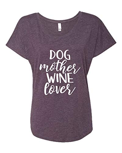 Funny Dog Mother Wine Lover Ladies Triblend Dolman Tee-Vintage Purple-Small