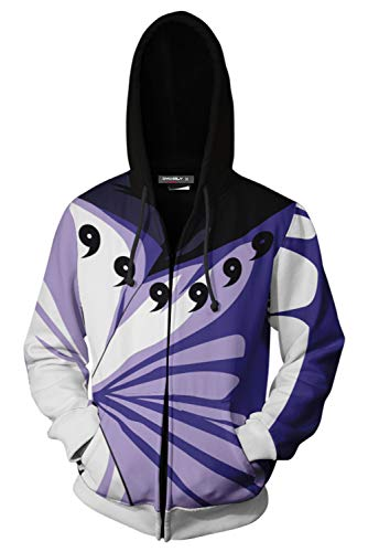 UU-Style Men's Naruto Kakashi Long Sleeve Bomber Jacket Cosplay Costume Jiraiya Hoodie Sweatshirt (Small, Madara Uchiha)