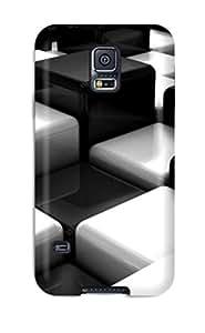 New Tpu Hard Case Premium Galaxy S5 Skin Case Cover(3d Black White )