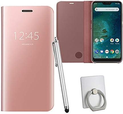 Guran® Mirror Efecto Espejo Funda para Xiaomi Mi A2 Lite Clear View Función de Soporte Plegable Smartphone Funda Protectora (Oro Rosa): Amazon.es: Electrónica